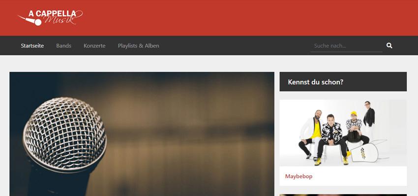 A cappella Musik (Webseite)