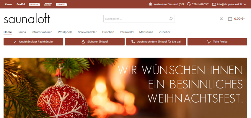 Saunaloft (Onlineshop & Webseite)
